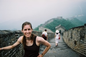 Cathy McLean scales the Great Wall of China.